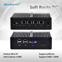 Qotom Q190G4N 4 ядра безвентиляторный мини компьютер 4 Ethernet LAN работает Pfsense как маршрутизатор брандмауэра дома Театр мини настольных ПК