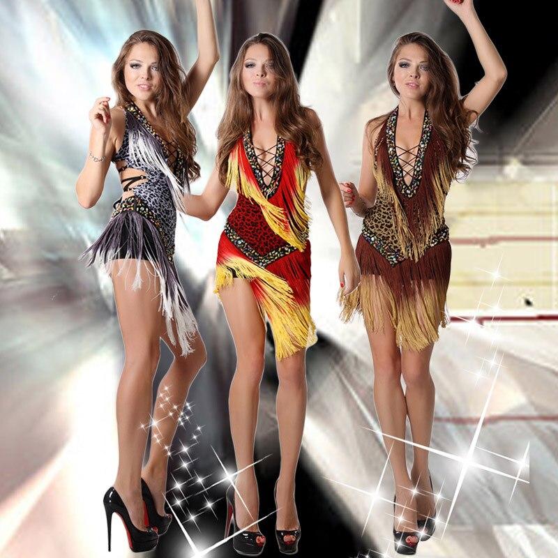 2018 Jauna balles deju kleita Samba kostīms sievietēm Sexy Leopard Print Salsa kleitas ar pušķiem latīņu kleita