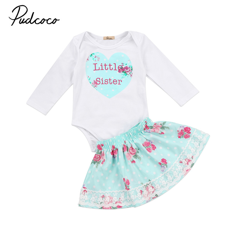 0 to 6T Family Matching Baby Girls Clothes New Style Long Sleeve Tops Romper T-shirt +Tutu Dress 2Pcs Outfits Clothing Set