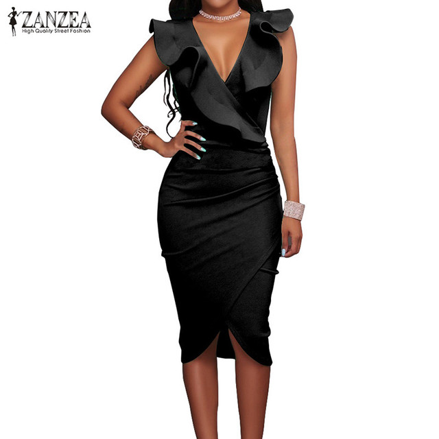 ZANZEA 2018 Women Summer Dress Sexy Sleeveless V Neck Pencil Party Dresses Ladies Ruffles Bodycon Slim Midi Club Vestidos 1
