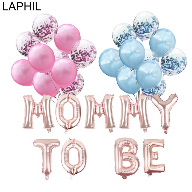 LAPHIL Baby Shower Foil Balloon Mommy To Be Blue Pink Confetti Ballons Its A Boy Girl Gender Reveal Babyshower Party Supplies