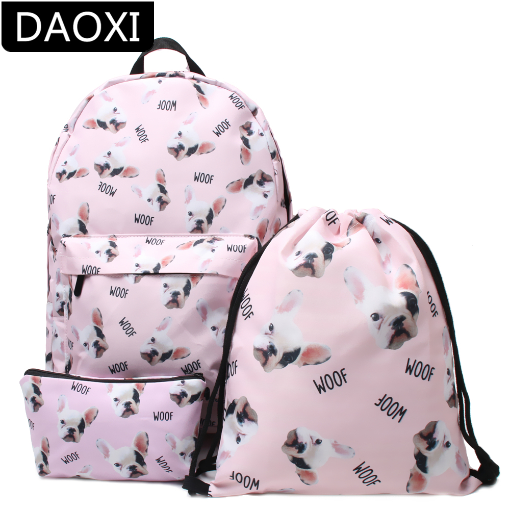 DAOXI Bulldog Backpack for Girls 3D Print Backpack School College Bag for Teens Girls Students Dropshipping