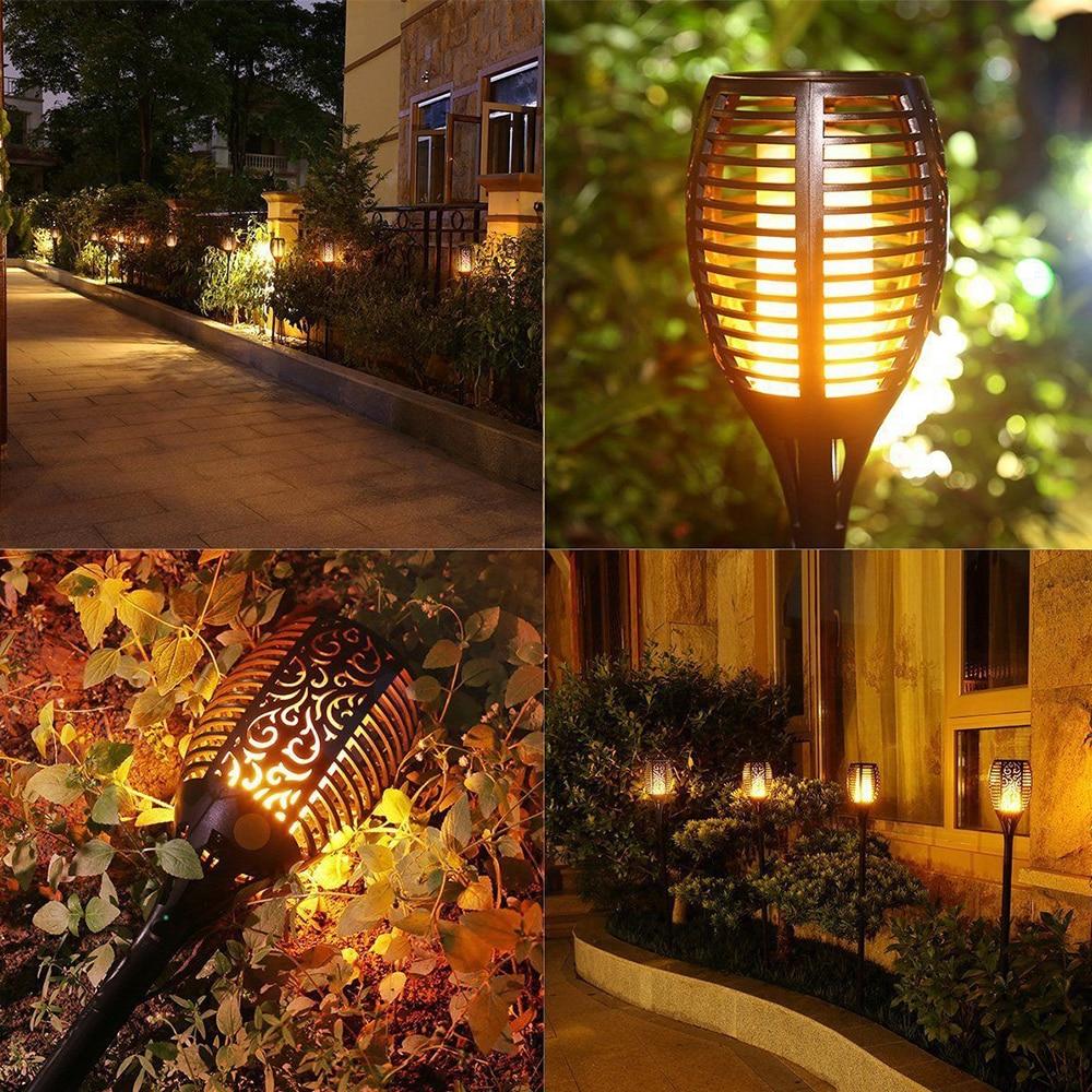 4X nouveau solaire flamme clignotant pelouse lampe torche LED lumière réaliste danse flamme lumière étanche extérieur jardin décor lampe chaude - 2