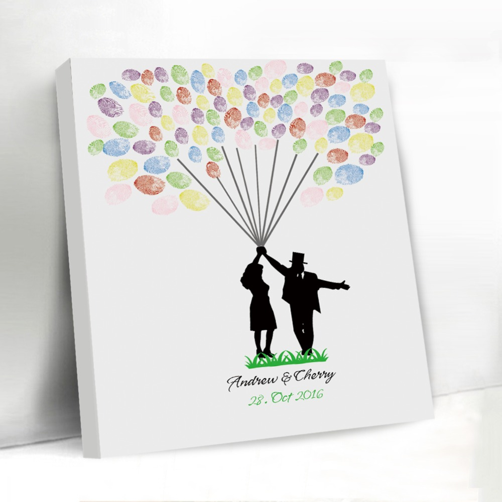Creative Fingerprint Wedding Tree Balloon Design Rustic Custom Decoration Guest Book Frame Canvas Signature Guestbook In Books From