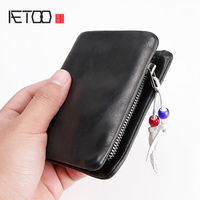 AETOO Retro men's leather vertical wallet head layer cowhide soft leather Short Money clip