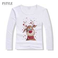 Cute Cartoon T Shirts Women Long Sleeve T-shirt Christmas Deer Print Tshirt Autumn Shirt for Girls X-mas Clothes Dropship