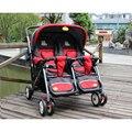 Gêmeos do bebê carrinho de bebê, Sanle gêmeos carrinho de criança com super suspention, 2 cores disponíveis para