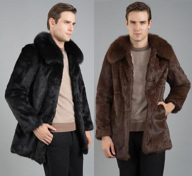 785cb9bb3819 Black brown warm casual short faux Mink rabbit fur coat mens leather jacket  men coats Villus