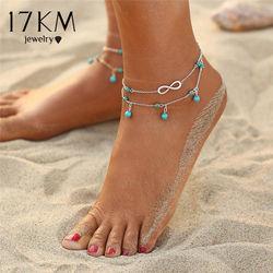 17 км дизайн двойной слой Кулон ножной браслет для женщин 2018 новый геометрический браслет Шарм богемные браслеты на ногу ювелирные изделия п...