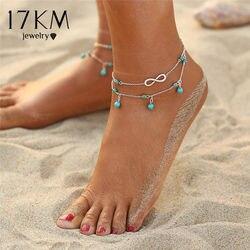 17 км дизайн двухслойный ножной браслет с подвеской для женщин 2018 новый геометрический браслет очаровательные богемные браслеты на ногу юве...