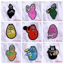 Pulaqi Anime Animal Patches Clothes Stickers Cute Punk Embroidery For Clothing Iron Sew On Stripes H