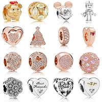 16 stil Neue Mode Silber Perle Rose Gold Hohl Liebe Glück Schwein Kristall Perle Für DIY Pandora Charms Armbänder & armreifen
