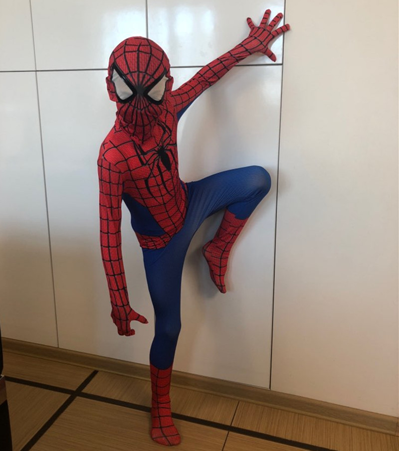 24 Hours Ship Spiderman Cosplay Costume Halloween Kids Boys Girls 3D Iron Spider Man Miles Morales Costume Suit Spandex Black Red Adult