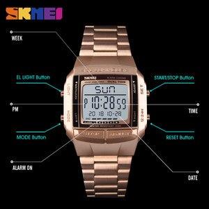 Image 5 - ساعة رياضية رجالي SKMEI ساعة رقمية ساعة منبه ساعة للعد التنازلي ساعة بمرآة زجاجية كبيرة ساعة عصرية للخروج