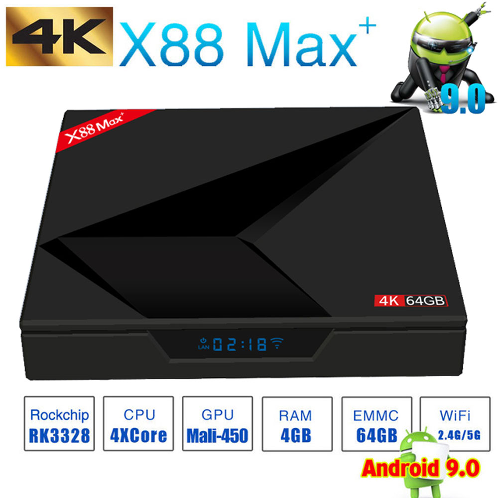 Android 9,0 TV Box 4 GB RAM 64 GB ROM X88 MAX PLUS RK3328 Quad Core TYPE-C 2,4G/ 5 Ghz Dual WiFi BT4.0 4 K Smart Set Top Box PK 8,1 - 2