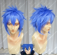 Anime Fairy Tail Jellal Fernandes Cosplay Wig Blue Heat Resistant Synthetic Hair Wig + Wig Cap
