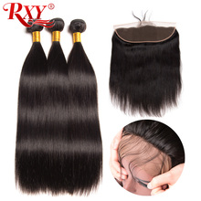 Rxy Remy Hair Straight Hair Pre Plucke Ear To Ear Lace Frontal Closure With Bundles Peruvian Human Hair Bundles With Closure 4Pc