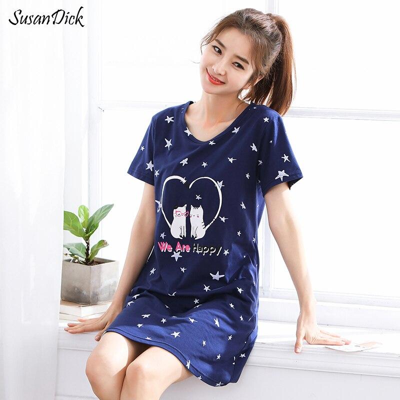 SusanDick 2018 Summer Nightgowns Female Brand Cotton Print Sexy Sleepwear Sweet Lovely Women Clothes Casual Night Dress Pijama