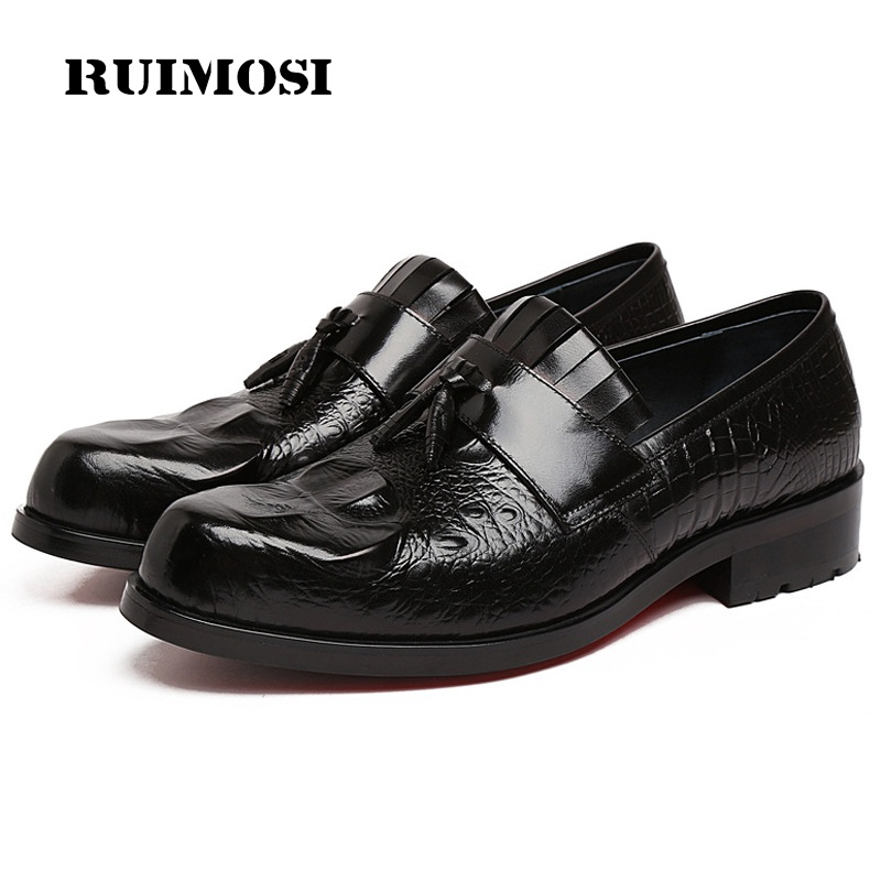 RUIMOSI Round Toe Crocodile Man Casual Shoes Genuine Leather Male Platform Loafers Designer Brand Comfortable Men's Flats RF78