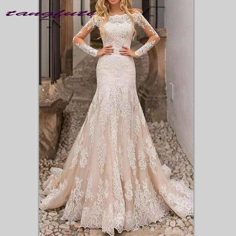 Vintage Mermaid Wedding Dresses Champagne Off Shoulder Lace Appliques Bridal Gowns Long Sleeves Engagement Dresses Bride Dress