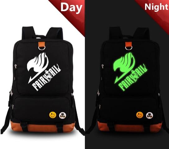 ФОТО Fairy Tail Blue Backpack PU Shoulders Bag Laptop luminous Bag Schoolbag