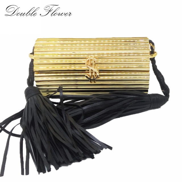 Black Tassel Dollar Hasp Hard Case Mini Women Gold Acrylic Evening Clutch Bag Party Prom Handbag Purse Crossbody Messenger Bag