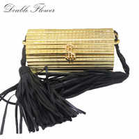 Double Flower Black Tassel Hard Case Gold Acrylic Women Small Crossbody Bag Fashion Shoulder Handbag Evening Party Box Clutch