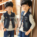 2016 Autumn clothing for boys girls kids New denim waistcoat outfit Fashion boys children button grind vest coats