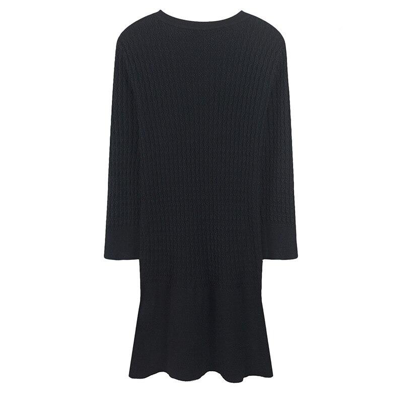 Parti Femmes Longues À Tricot Piste Automne Robe Manches Métal En 2018 Vintage Pull Boutons Mini Féminine Black white Conception Vêtements Hiver N8mn0OPyvw