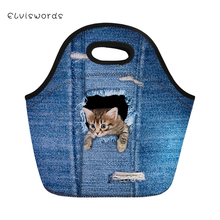 ELVISWORDS Insulated Lunch Bag for Kids Lovely Cowboy Cat Dog Box Women Tote Girls Picnic Snacks Container Packeed