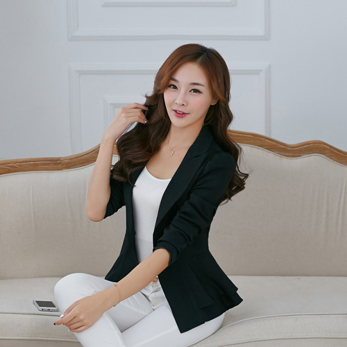 G547260 Classic Design Hot Sale High Quality Single Button Notched Office Lady Blazer Jacket