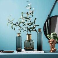 Exquisite Nordic Transparent Glass Vase Cabinet Dining Table Flower Glass Bottle Decor Grey Transparent Water Jar Crystal Vase