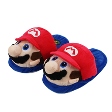 27cm Super Mario Soft Slippers Winter Indoor Plush Slippers Unisex Warm Home Slippers For Family