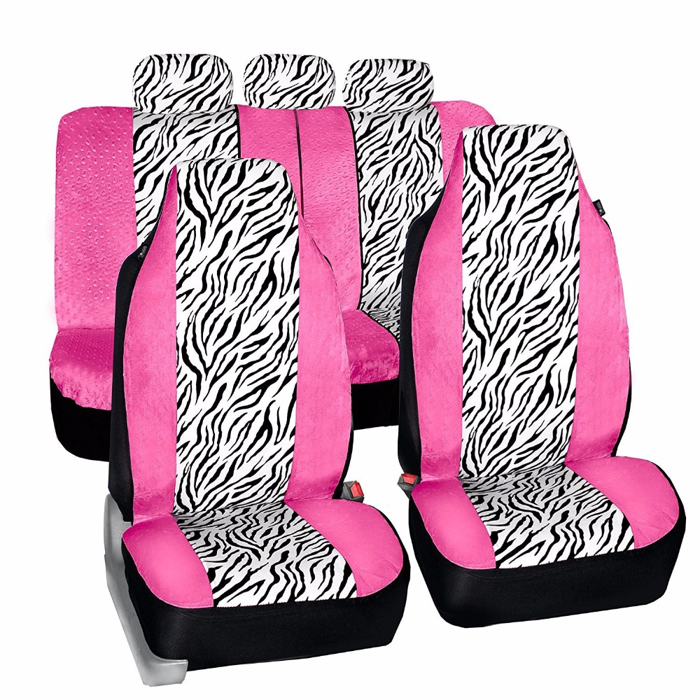 New Car Seat Cover Pink zebra pattern Universal Women Accessories Protector Car-Styling For Lada Kalina VAZ Mercedes Nissan Kia ...