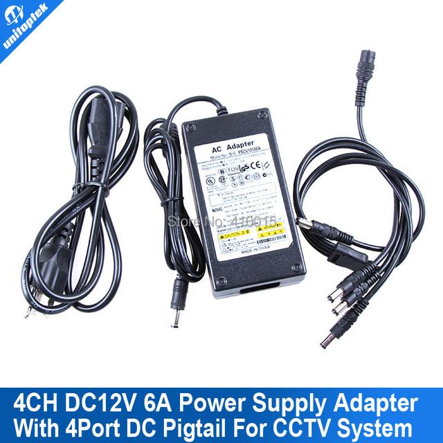 12 v 6a fuente de alimentación de $ number canales sistema de cctv cámara de 4 puertos adaptador dc + pigtail capa