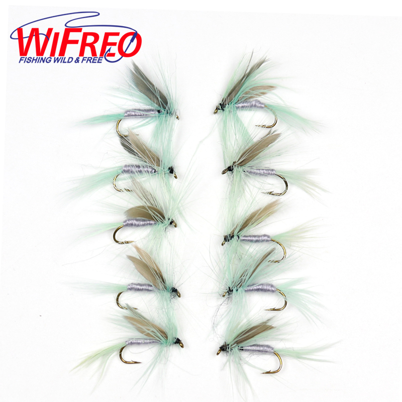 Wifreo 10pcs #10 Grey Green Dun May Fly Trout Fishing Flies Artificial Insect Mayfly wifreo 10pcs 10 black zebra mosquito fly trout fishing dry flies fly fishing bait lures