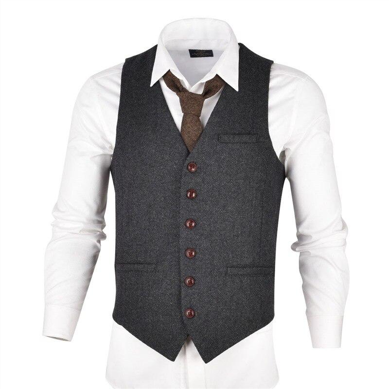 VOBOOM Grijs Zwart Tweed Heren Vest Pak Slim Fit Wol Blend Single Breasted Visgraat Vest Mannen Taille Jas voor Man 007-in Vesten van Mannenkleding op AliExpress - 11.11_Dubbel 11Vrijgezellendag 2