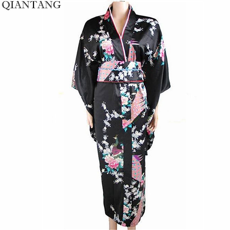 0751fa5f7f Free Shipping Black Japanese Women s Silk Satin Kimono Dress Yukata Peafowl  Wholesale Retail (one size) H0030(2)