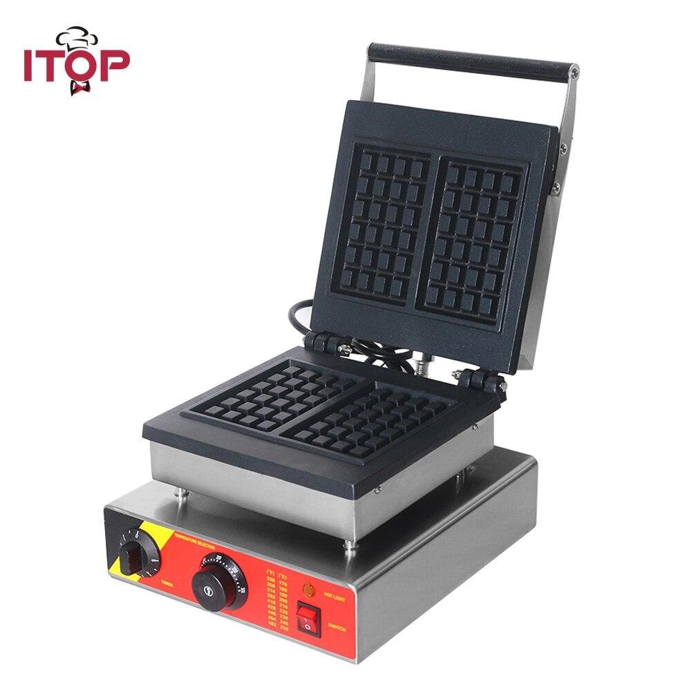 ITOP 220 V máquina eléctrica para hacer wafles máquina de hierro sándwich burbuja huevo pastel horno Waffle panadería máquina de desayuno