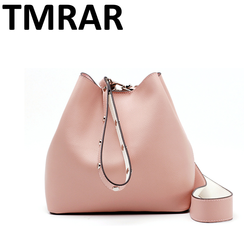 2018 New classic bucket shoulder bag with studs strap tote lady split leather handbags women crossbody bags for female qn234 hot 2017 classic scrub tote with chain tote crossbody bags women split leather handbags lady messenger bag for female an867