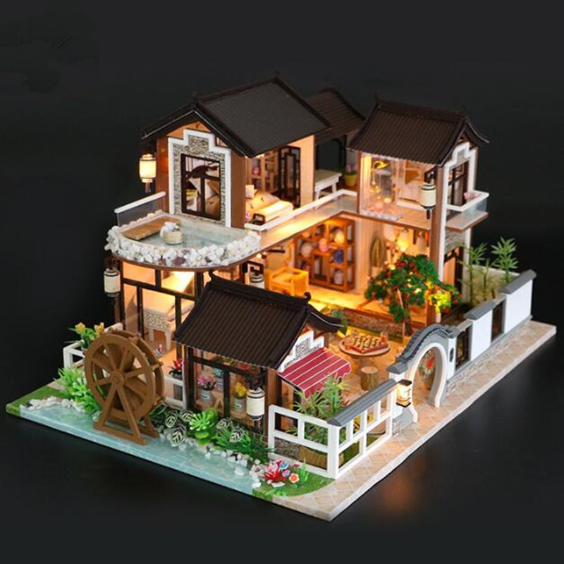 13848 Large Wooden Doll House Miniature DIY Dollhouse With Furnitures big size house toy