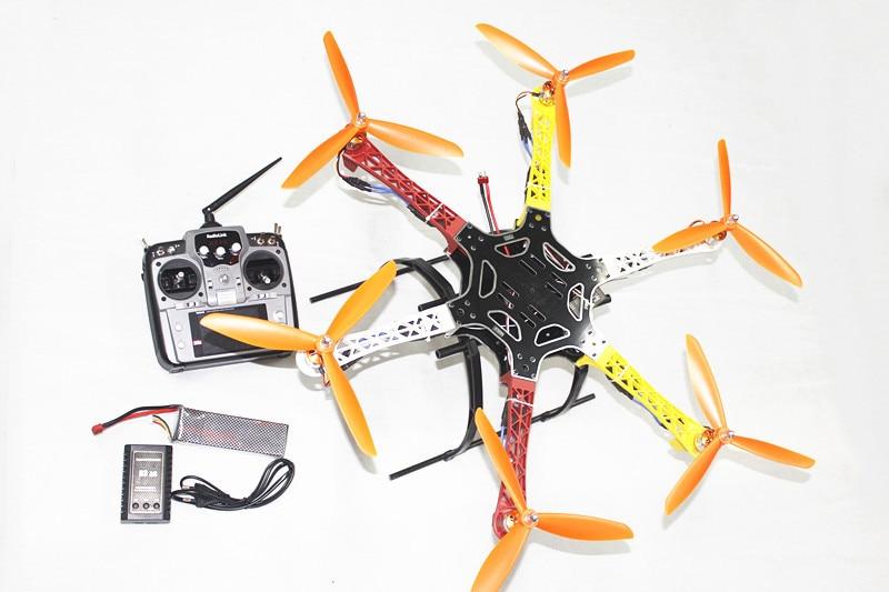 F05114-AD F550 Hexa-Rotor Air Frame RTF Assembled Full Kit +Landing Gear Radiolink AT10 TX&RX Battery Adapter ESC Motor Welded