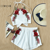 COLROVIE Rose Applique Beach 2 Piece Set Women Bow Tie Brief Halter Top And Shorts Set 2017 Sexy Open Back Vintage Two Piece Set