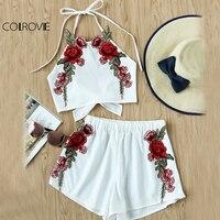 COLROVIE Rose Applique Beach 2 Piece Set Women Bow Tie Brief Halter Top And Shorts Set
