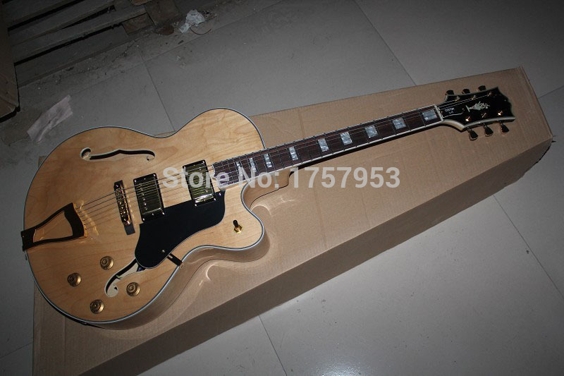 Free Shipping Factory Custom Shop 2017 new L5 guitar Semi Hollow Natural wood color Elec ...