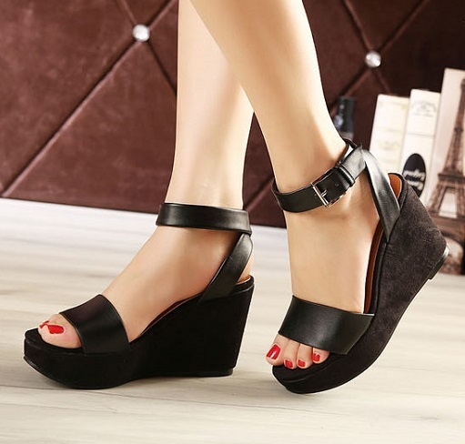 addcfb1815e 2015 Women Korean Open Toe Mary Jane Wedges Platform Sexy Black Sandals  Heels Shoes For Women Strap Platforms Buckle Wedge Heel