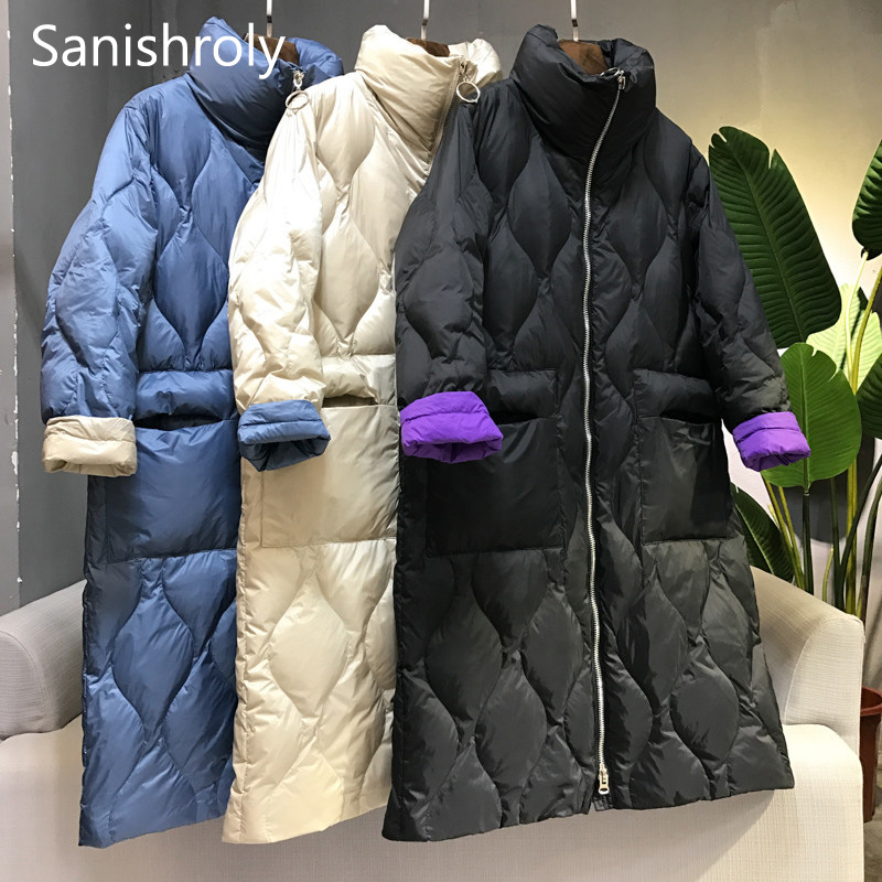 Sanishroly Autumn Winter Women Light   Down   Jacket Casual Thin White Duck   Down     Coat   Female Stand Collar Long Outwear Plus Size 696