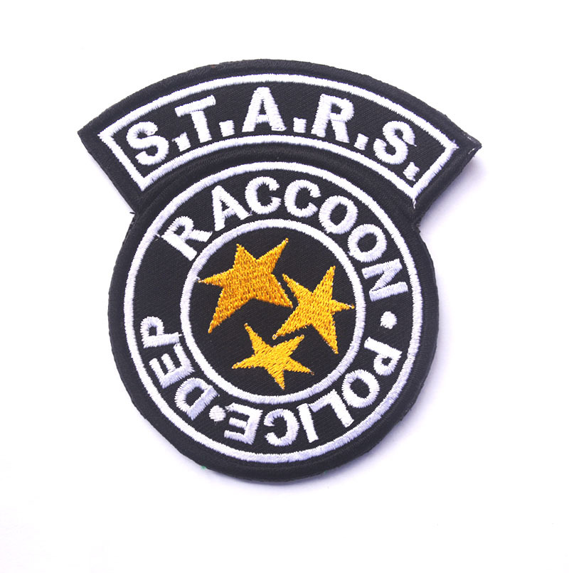 Resident Evil Series Stars Blue Raccoon Police Dept Embroidered Patch Set of 3