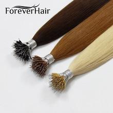 """FOREVER HAIR настоящие Remy Nano Ring человеческие волосы для наращивания 1 г/локон 1"""" 18"""" 2"""" кератиновые прямые волосы блонд с микро-бусинами 50 г/"""