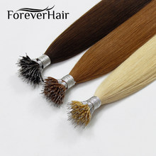 "FOREVER HAIR Real Remy Nano Ring Human Hair Extensions 1g/s 16"" 18"" 20"" Keratin Straight Blonde Micro Beads Hair 50g/(China)"